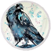 Round Beach Towel featuring the painting Crow by Kovacs Anna Brigitta