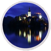 Dusk Over Lake Bled Round Beach Towel