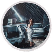 Round Beach Towel featuring the photograph Giulia by Traven Milovich