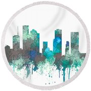 Round Beach Towel featuring the digital art Houston Texas Skyline by Marlene Watson