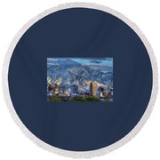 Salt Lake City Skyline Round Beach Towel