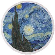 The Starry Night Round Beach Towel by Vincent Van Gogh