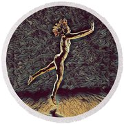 1302s-zak Naked Dancers Leap Nudes In The Style Of Antonio Bravo Round Beach Towel