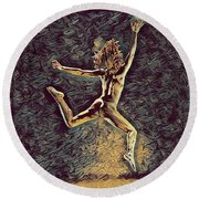 1307s-dancer Leap Fit Black Woman Bare And Free Round Beach Towel by Chris Maher