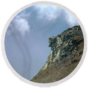 Round Beach Towel featuring the photograph 135701 Old Man Of The Mountain Nh by Ed Cooper Photography