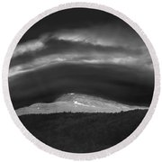 Round Beach Towel featuring the photograph 135765 Mt. Washington Lenticular Cloud Nh by Ed Cooper Photography