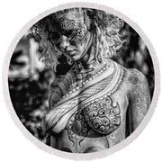 Bodypainting Round Beach Towel by Traven Milovich
