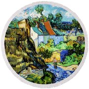 Houses At Auvers Round Beach Towel