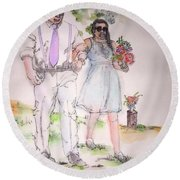 The Wedding Album  Round Beach Towel by Debbi Saccomanno Chan