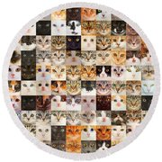 140 Random Cats Round Beach Towel