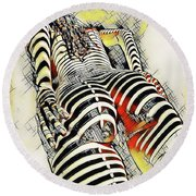 1457s-ak Rear View Nude Erotica In The Style Of Kandinsky Round Beach Towel by Chris Maher