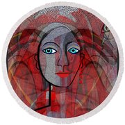 1459 Cubic Lady Face Round Beach Towel by Irmgard Schoendorf Welch