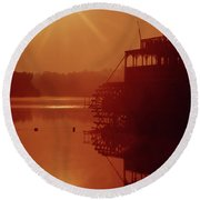 Round Beach Towel featuring the photograph 148223 Mississippi River Sternwheeler  Ga by Ed Cooper Photography