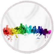 Boston Massachusetts Skyline Round Beach Towel by Michael Tompsett