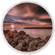 Sunst Over The Ocean Round Beach Towel