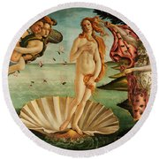 The Birth Of Venus Round Beach Towel