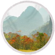 The Colorful Autumn Scenery Round Beach Towel