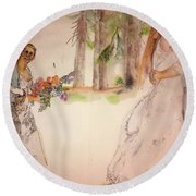 Round Beach Towel featuring the painting The Wedding Album  by Debbi Saccomanno Chan