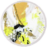 Round Beach Towel featuring the painting Three Color Palette by Michal Mitak Mahgerefteh