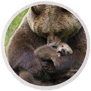 Mother Bear Cuddling Cub Round Beach Towel