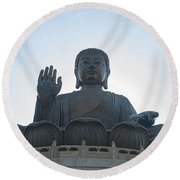 1551-tian Tan Buddha Round Beach Towel