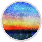 15a Abstract Seascape Sunrise Painting Digital Round Beach Towel
