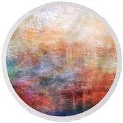 15b Abstract Sunrise Digital Landscape Painting Round Beach Towel