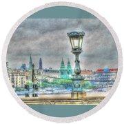 Round Beach Towel featuring the pyrography Budapesht by Yury Bashkin