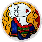 Shy Girl Picasso By Nora Round Beach Towel by Nora Shepley
