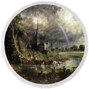 Salisbury Cathedral From The Meadows Round Beach Towel