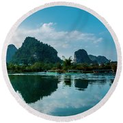 The Karst Mountains And River Scenery Round Beach Towel