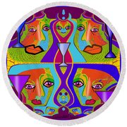 Round Beach Towel featuring the digital art 1688 - Funny Faces 2017 by Irmgard Schoendorf Welch