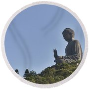 1650-tian Tan Buddha Round Beach Towel