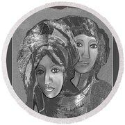 Round Beach Towel featuring the digital art 1667 - The Sisters by Irmgard Schoendorf Welch
