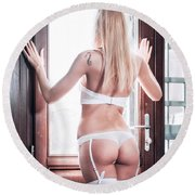 Round Beach Towel featuring the photograph .. by Traven Milovich