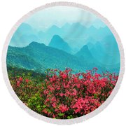 Blossoming Azalea And Mountain Scenery Round Beach Towel