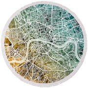 London England Street Map Round Beach Towel