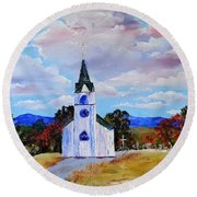 #17 St. Johns Historic Church On Hwy 69 Round Beach Towel