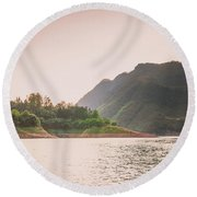 The Mountains And Lake Scenery In Sunset Round Beach Towel
