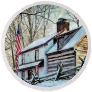 1700's Log House In West Chester, Pa Round Beach Towel