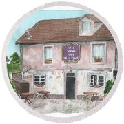 Round Beach Towel featuring the painting 1775 Cafe De La Place by Betsy Hackett