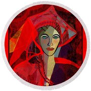 1791 - The Lady In Red 2017 Round Beach Towel