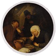 Round Beach Towel featuring the painting 17th Century Follower Of Ostade, Adriaen Van 1610 Haarlem 1685 Interior With People Sleeping At A  by Artistic Panda