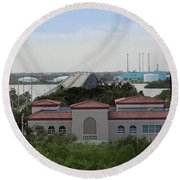 17th Street Bridge, Vero Beach, Fl Round Beach Towel