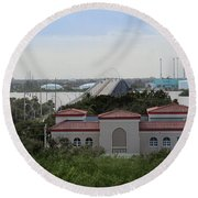 Round Beach Towel featuring the photograph 17th Street Bridge, Vero Beach, Fl by Megan Dirsa-DuBois