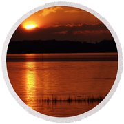 17th Street Sunset Round Beach Towel