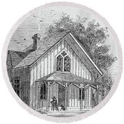 19 Century Farmhouse With Dog On Front Poarch Round Beach Towel