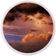 Nebraska Hp Supercell Sunset Round Beach Towel