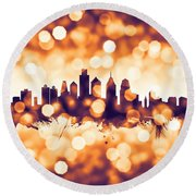 Philadelphia Pennsylvania Skyline Round Beach Towel by Michael Tompsett