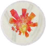 Skyround Art Of Los Angeles, United States Round Beach Towel